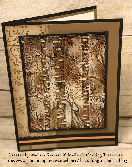 Today's project features my Impressions of Tarnished Foil Technique with the Woodland Embossing Folder and Thoughts and Prayers Stamp Set by Stampin' Up!