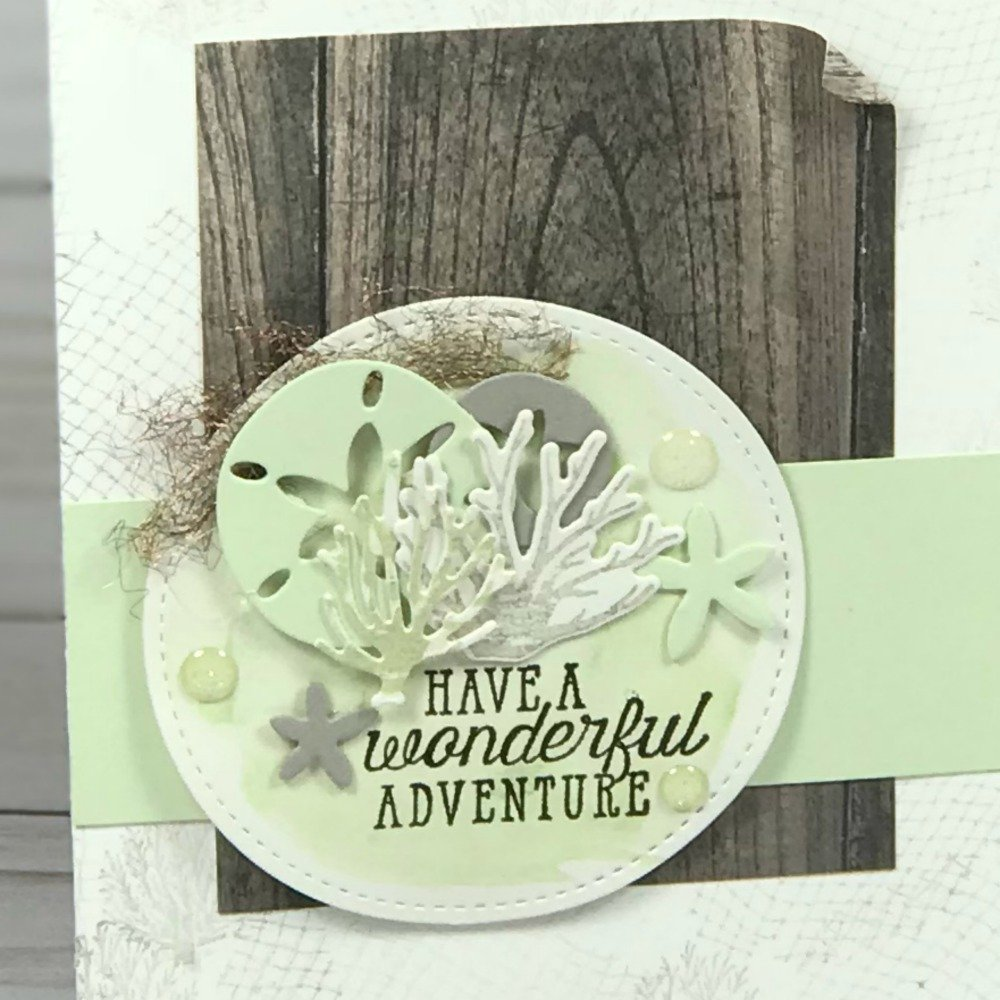 Simple card made with the Sea of Textures Stamp Set and Under the Sea Framelits. This was a team Make n' Take project.