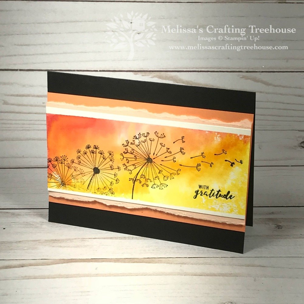 Handmade card with the Dandelion Wishes Stamp Set by Stampin' Up! and Watercoloring with Acrylic Blocks. Created by Melissa Kerman of Melissa's Crafting Treehouse.