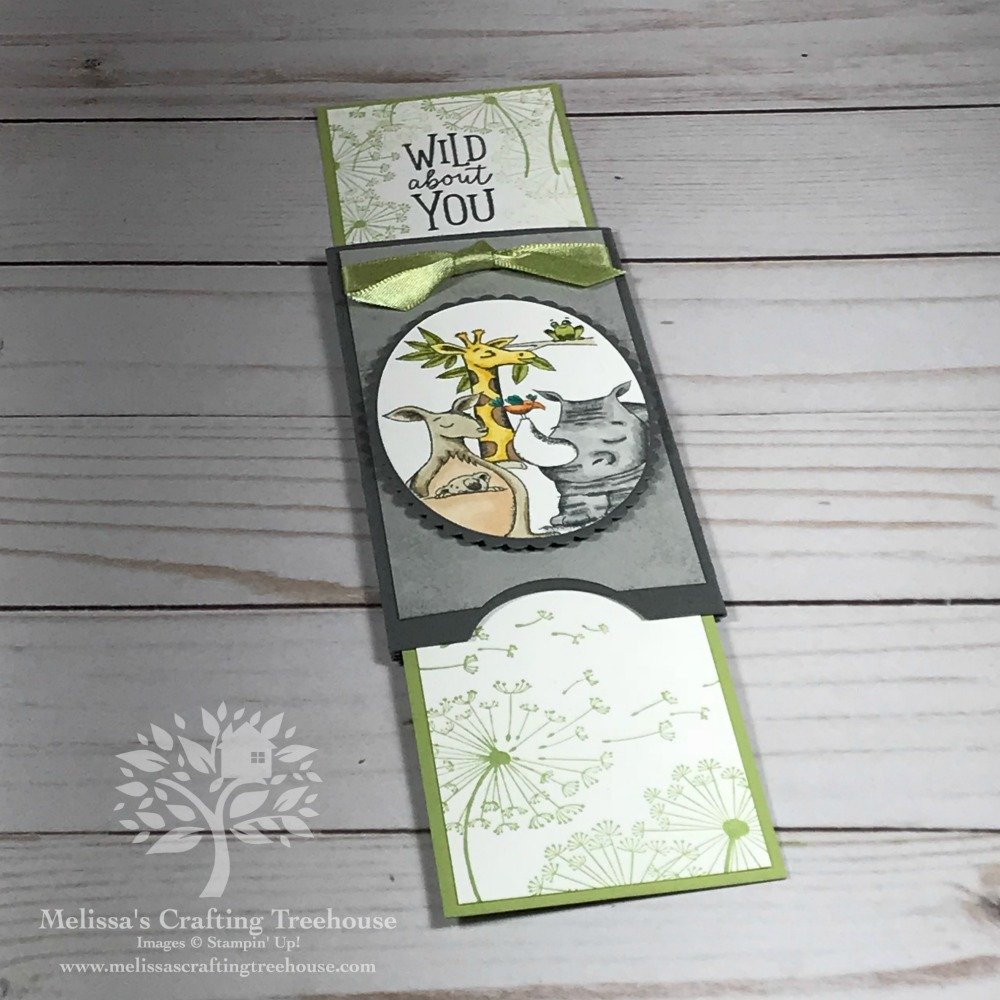 Check out this Double PopUp Slider card made with the Animal Expedition Stamps Set and Blends Alcohol Markers by Stampin' Up! Project created by Melissa Kerman at Melissa's Crafting Treehouse.