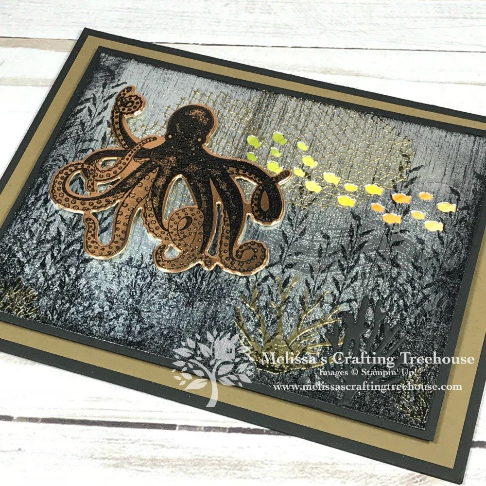 Handcrafted card made with the Sea of Textures Bundle and the Black Ice Paper Crafting Technique. Technique and project created by Melissa Kerman at Melissa's Crafting Treehouse. Project features Stampin' Up! products from the 2018 - 2019 Annual Catalog.