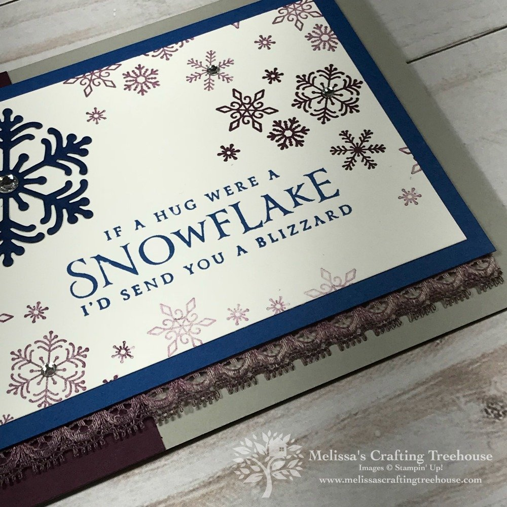 Handmade card featuring the Beautiful Blizzard Bundle from the 2018 Holiday Catalog by Stampin' Up!. Project created by Melissa Kerman, Stampin' Up! demonstrator since 2003.