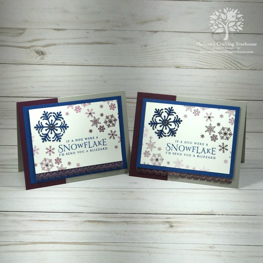 Handmade cards featuring the Beautiful Blizzard Bundle from the 2018 Holiday Catalog by Stampin' Up!. Project created by Melissa Kerman, Stampin' Up! demonstrator since 2003.