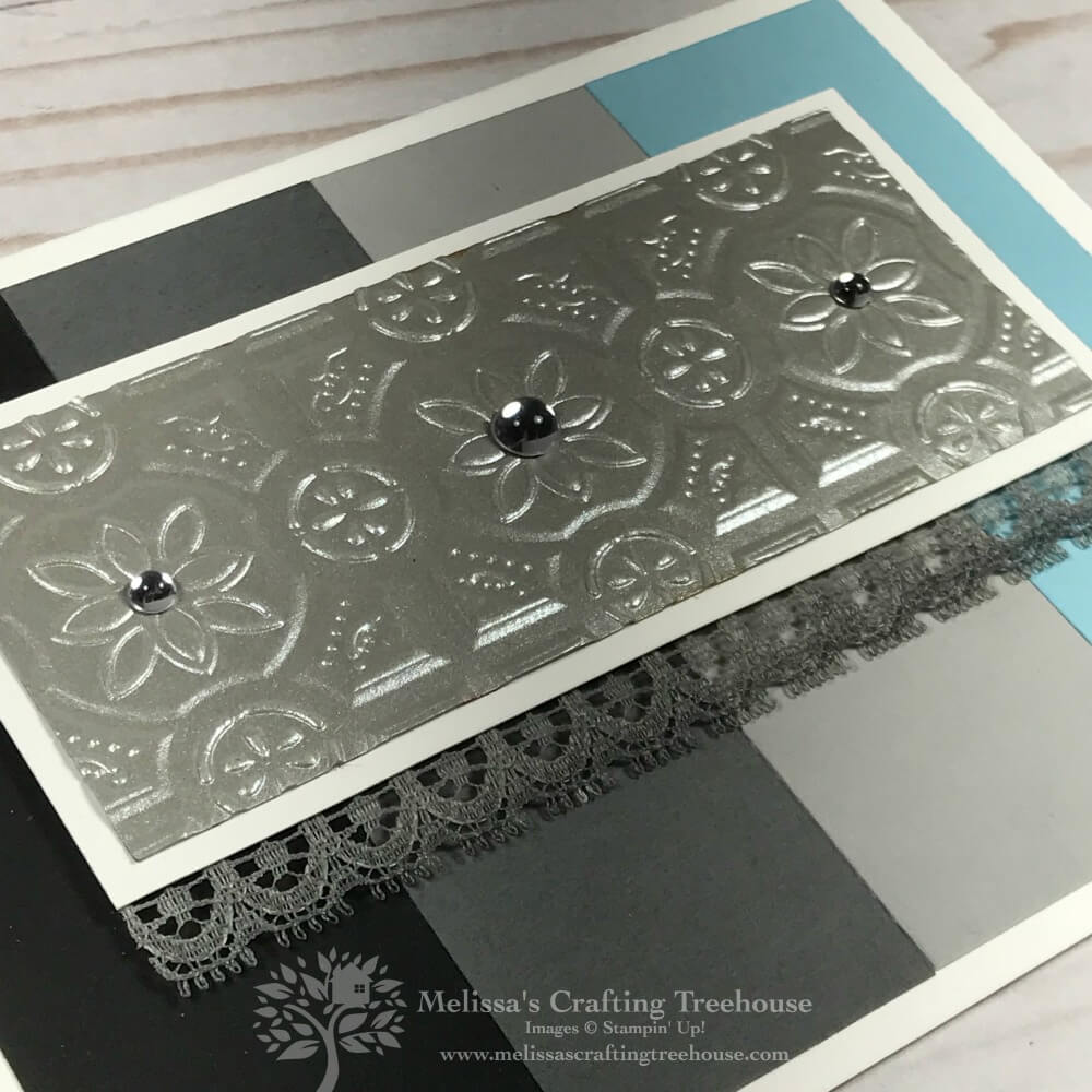 Todays project features simple embossed foil art, using the Tin Tile Textured Impressions Embossing Folder and Galvanized Metallic Paper by Stampin' Up!.