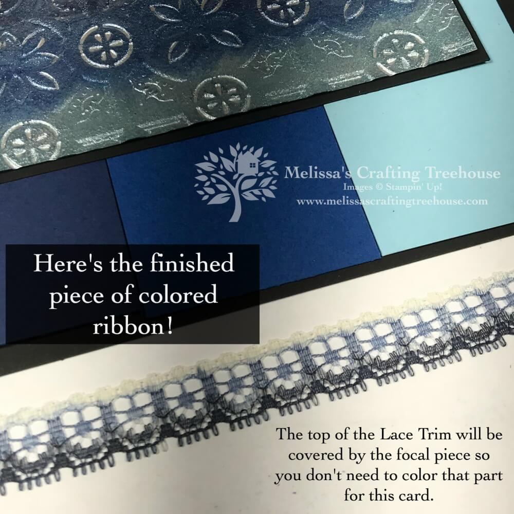 Today's project features embossed foil art with custom colored foil and lace trim. The Tin Tile embossing folder is the star of the show!