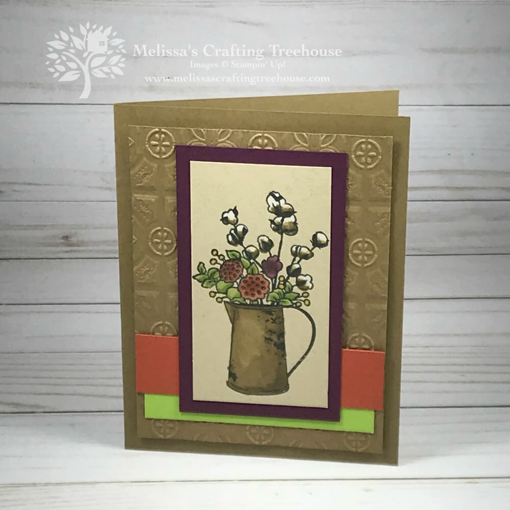 Handmade card with various coloring techniques. Features blends alcohol markers, watercolor pencils and a blender pen with the Country Home Stamp Set and Tin Tile Embossing Folder.