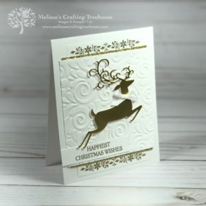 Elegant Christmas card made with the Dashing Deer Stamp Set, Detailed Deer Thinlits and the Swirls and Curls Embossing Folder from the Stampin' Up! Holiday Catalog. This was a team Make n' Take project.