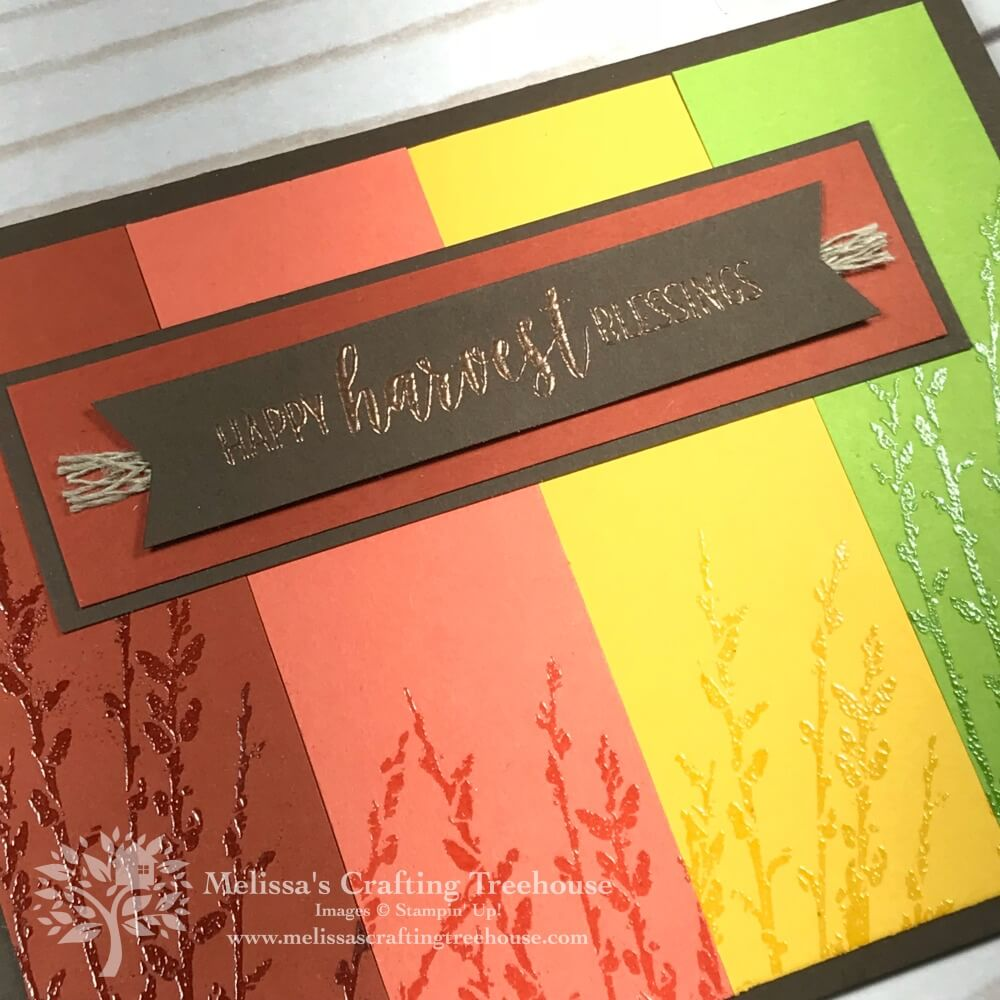 Dry Embossing, Sponging and Heat Embossing with the Tin Tile Embossing Folder and Country Road Stamp Set for the October 2018 Color Fusers Blog Hop.