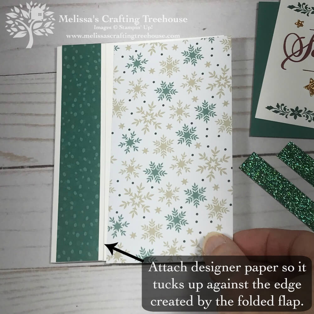 Simple homemade christmas card idea, featuring the Joyous Noel DSP and the Merry Christmas To All Stamp Set, from the Stampin' Up! 2018 Holiday Catalog.