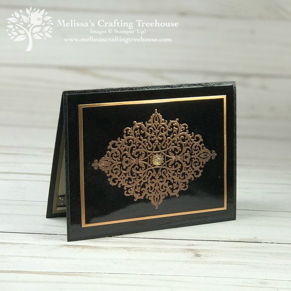 A few fun Heat Embossing Ideas using the Flourish Filigree stamp set, Black Foil Sheets, Copper Embossing Powder, Tin Tile Embossing Folder and Cat Punch.
