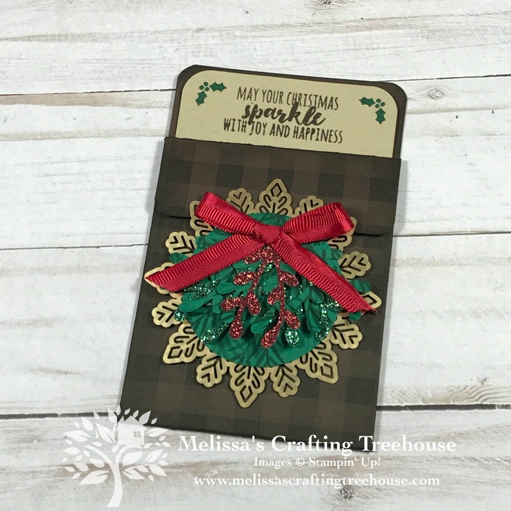 Today's DIY Gift Card Holder is made with the Christmas Pines & Buffalo Check Stamp Sets. The Sprig Punch is also featured. It's super easy to create!