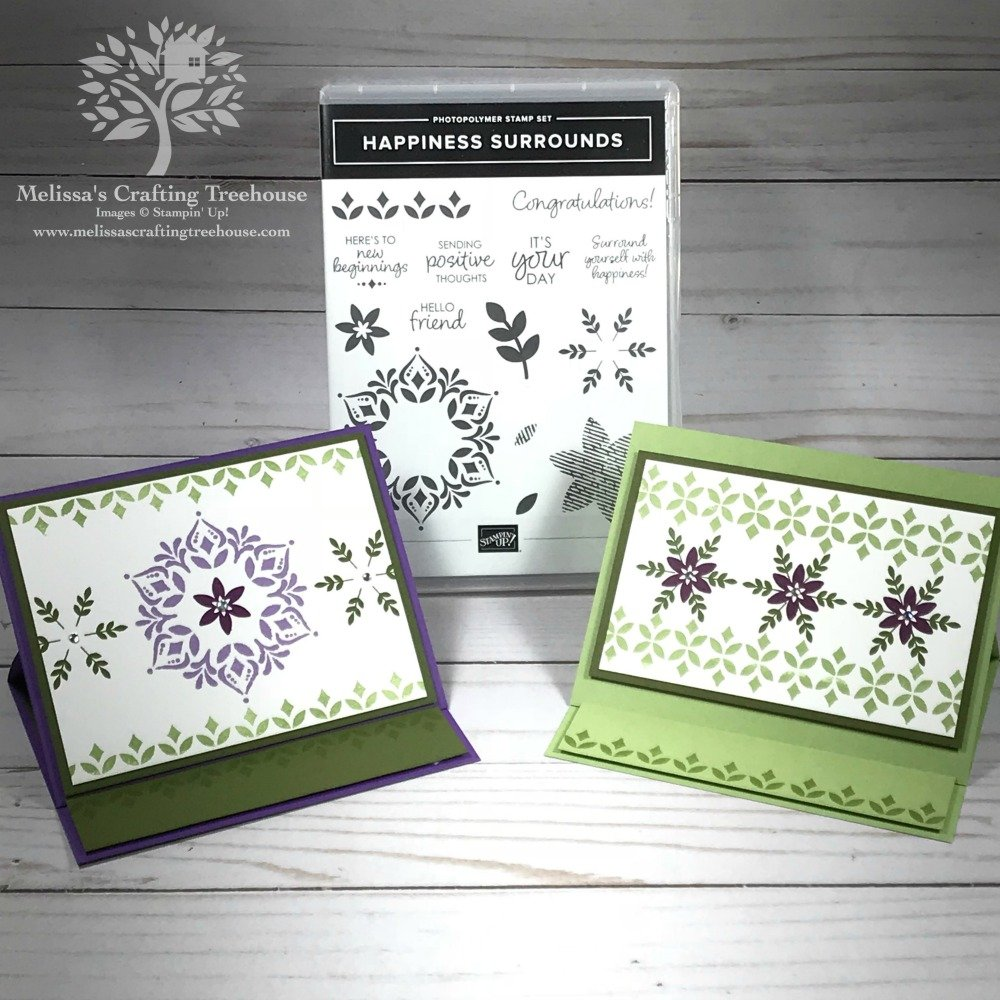 Today's post includes two simple easel card ideas with the Happiness Surrounds Stamp Set. These projects are both quick and easy to make!