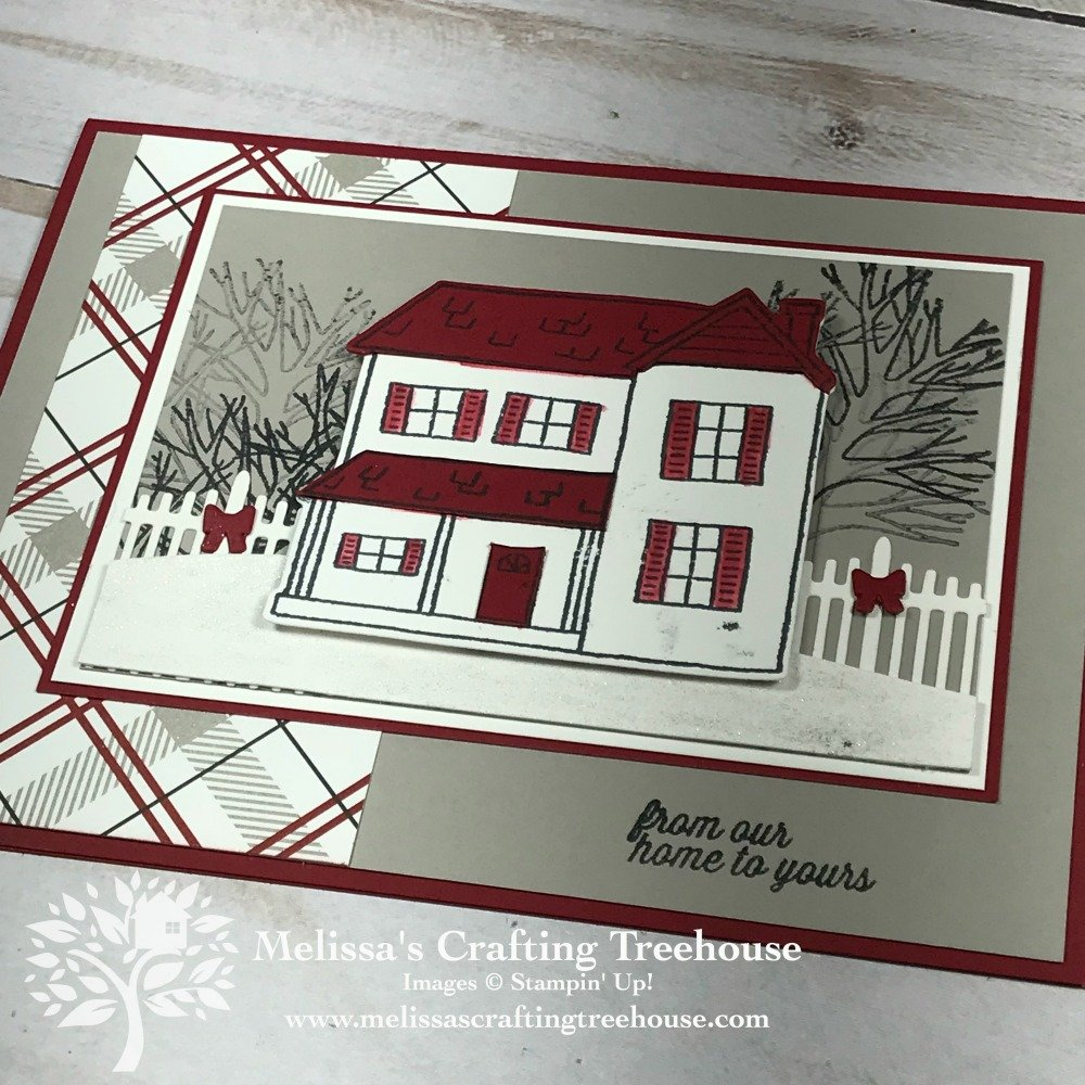 I love winter card ideas that work for the holidays and other occasions too. The Farmhouse Christmas stamp set is perfect for this type of card.