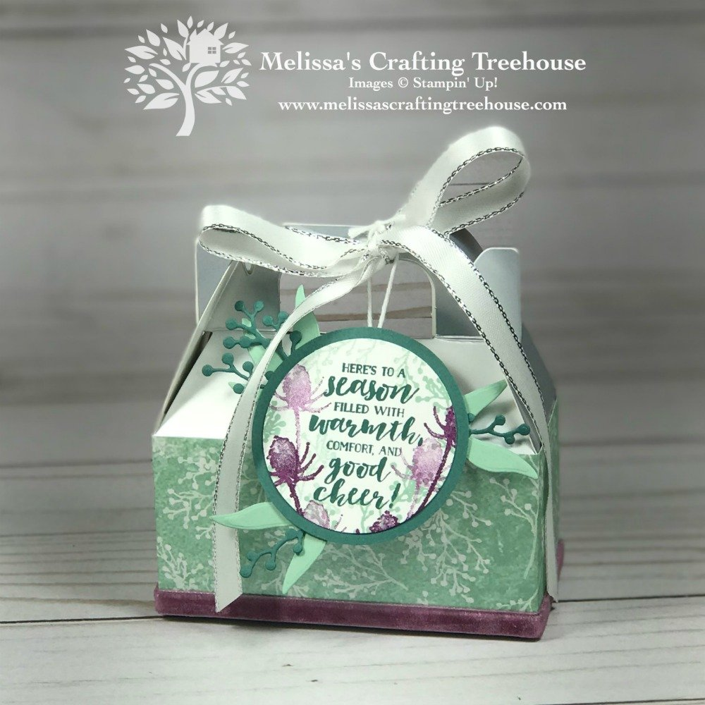 Check out these gorgeous homemade gift packaging ideas featuring the Frosted Floral product suite and silver gable boxes by Stampin' Up!.
