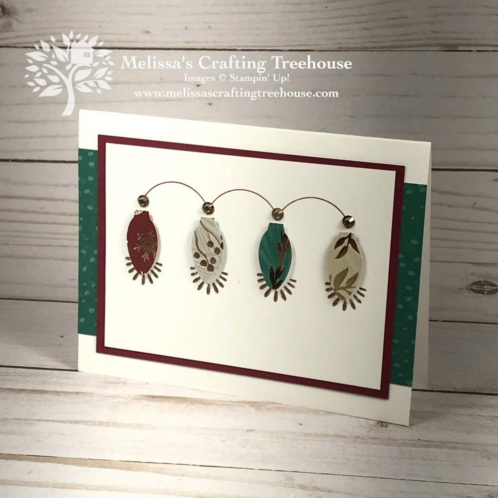 This simple Christmas card design, features the Making Christmas Bright bundle and beautiful copper accents. The Joyous Noel DSP is used for punched bulbs.