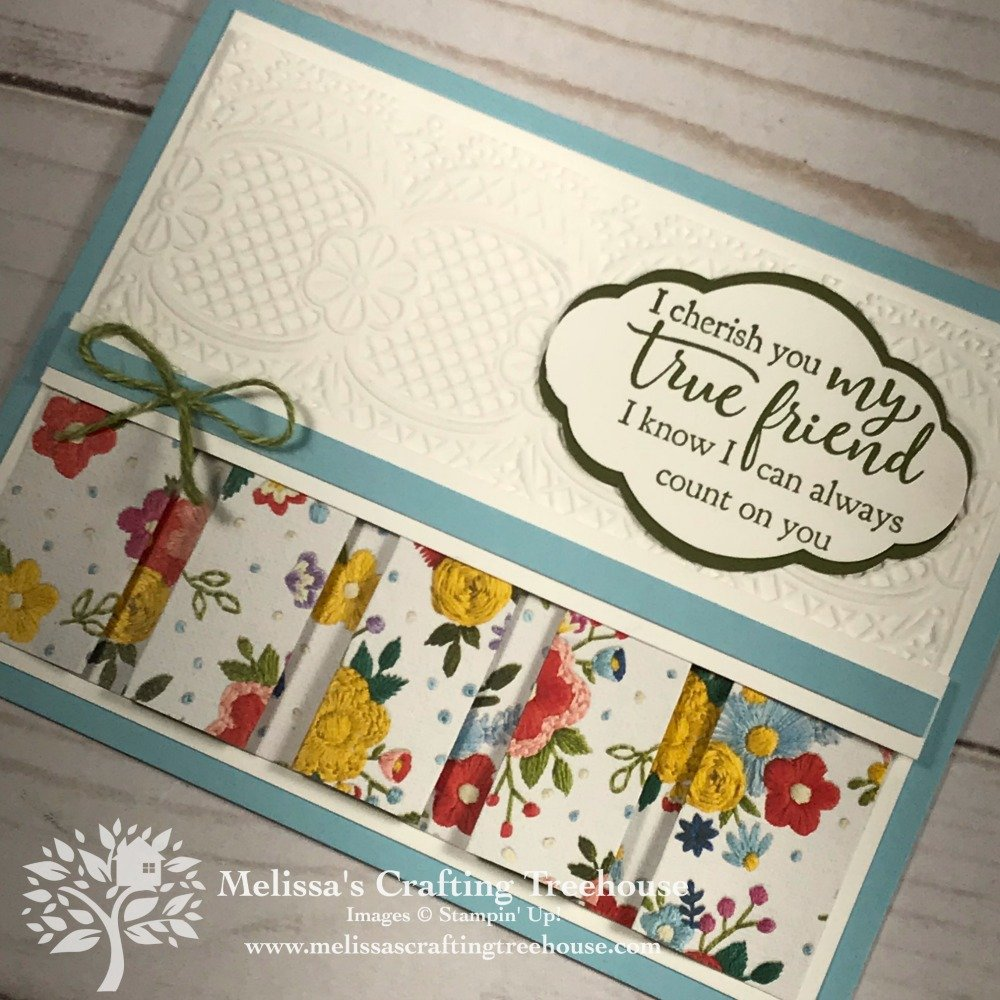 Today's Drapery Fold Card is a Club Project and a Free Card Kit program card. It features the Needlepoint Nook Designer Paper and Lace Embossing Folder.