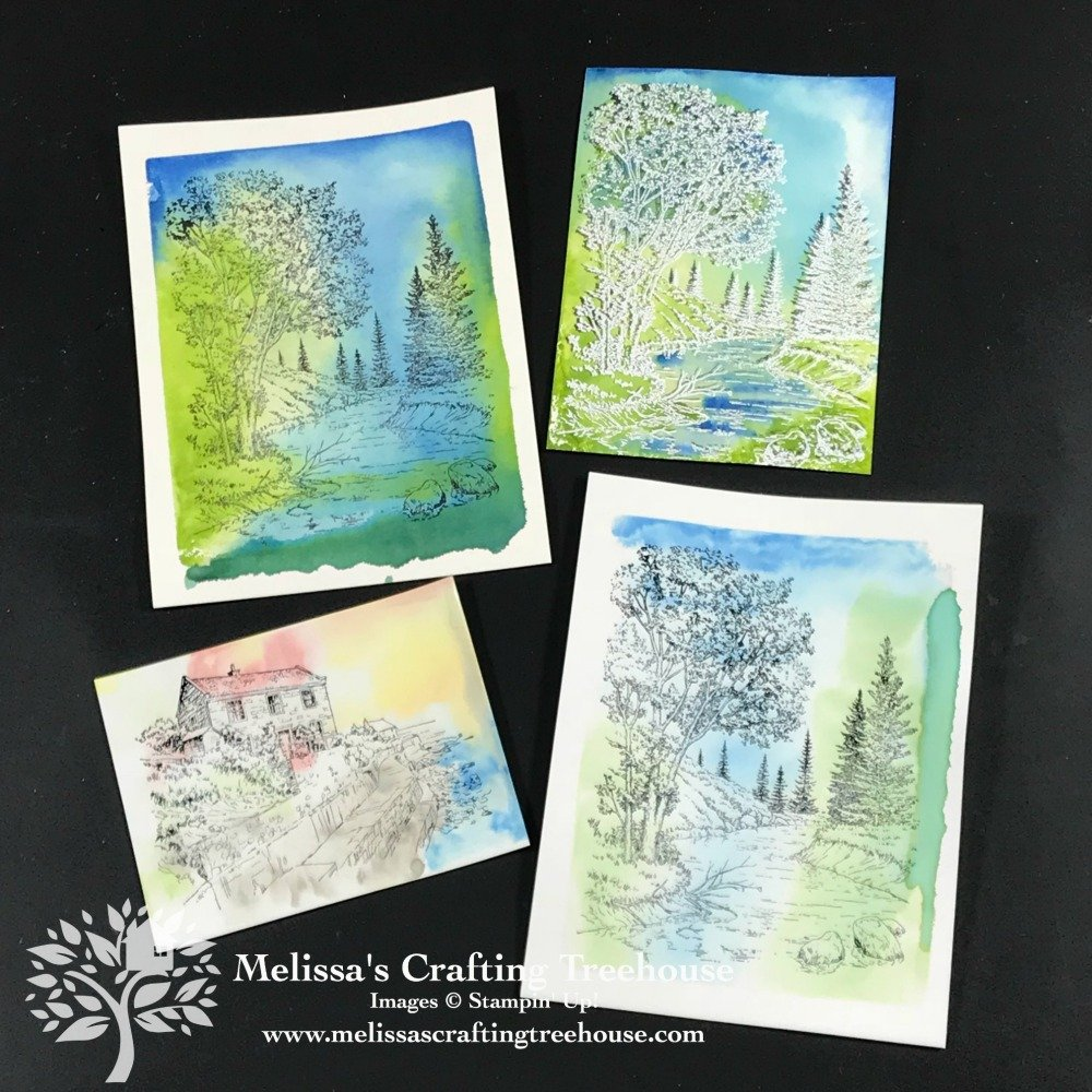 Check out these easy watercolor painting ideas with, acrylic blocks, ink pads & markers. Features the Peaceful Place & By The Bay Stamps Sets.