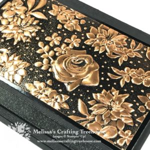 Embossing Folder Techniques with the Country Floral embossing folder are shown here, including heat embossing on copper foil and stamping with the folder.