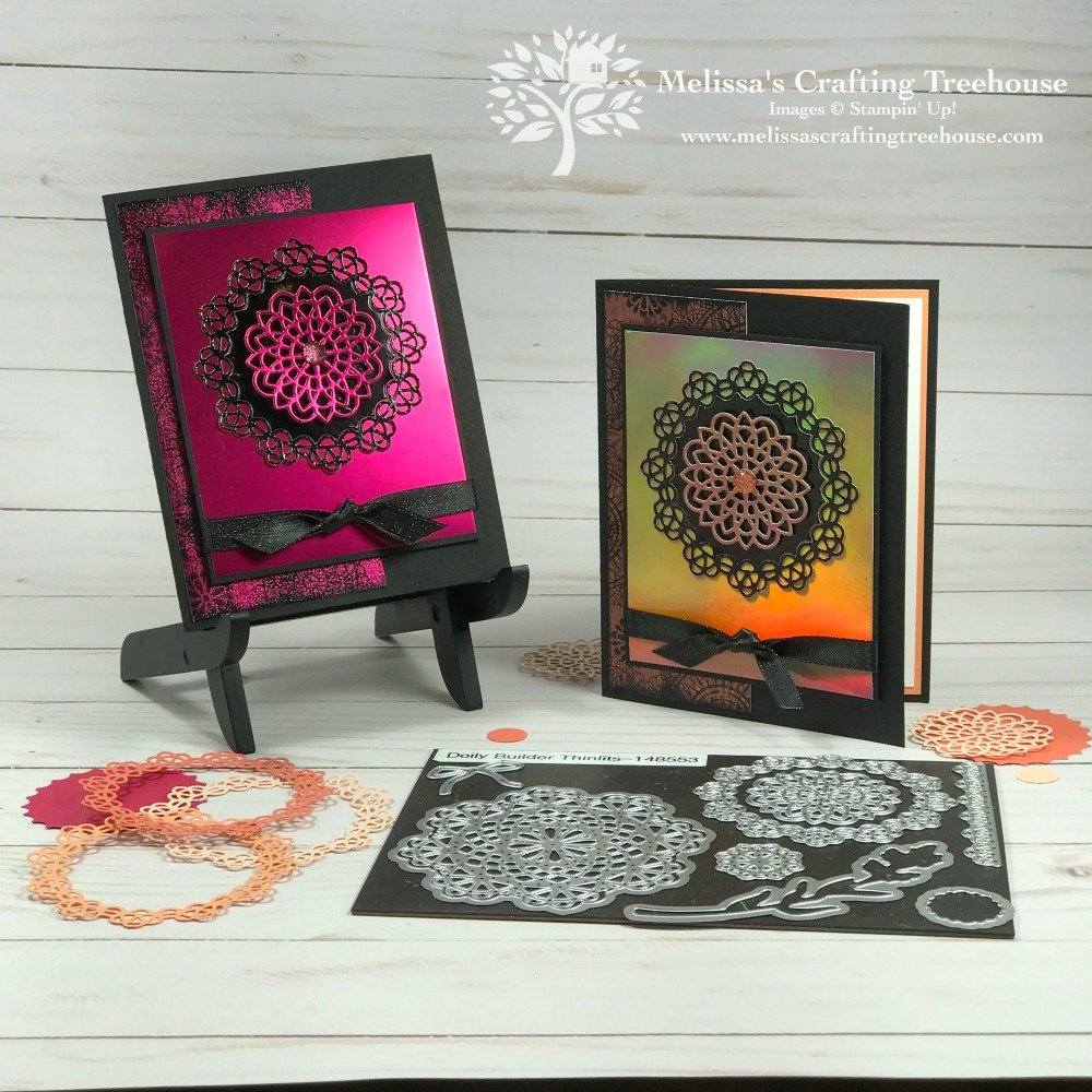 Check out these three unique card making ideas that feature three colors of foil die cut doilies and the black ice technique too!