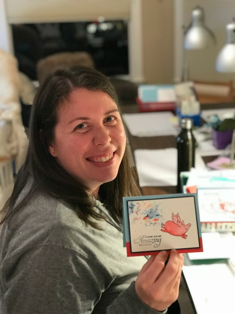 """Check out these fun card variations made with the This Little Piggy Stamp Set and Stampin' Up! Brusho! We made """"magical"""" pigs and an Arkansas Razorback too!"""