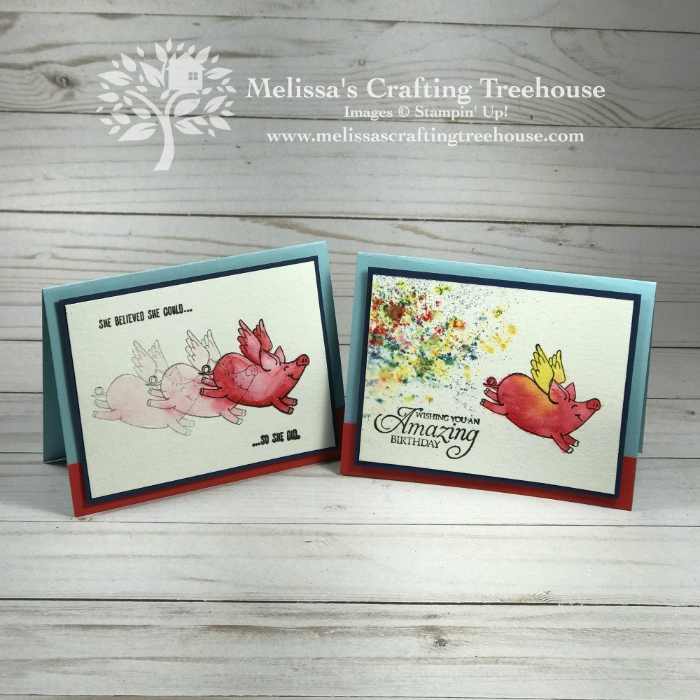 "Check out these fun card variations made with the This Little Piggy Stamp Set and Stampin' Up! Brusho! We made ""magical"" pigs and an Arkansas Razorback too!"