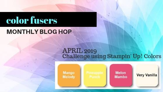 Welcome to the Color Fusers Blog Hop and April Color Challenge! Todays card features a spring color palette and was inspired by a trio of chocolate bars.