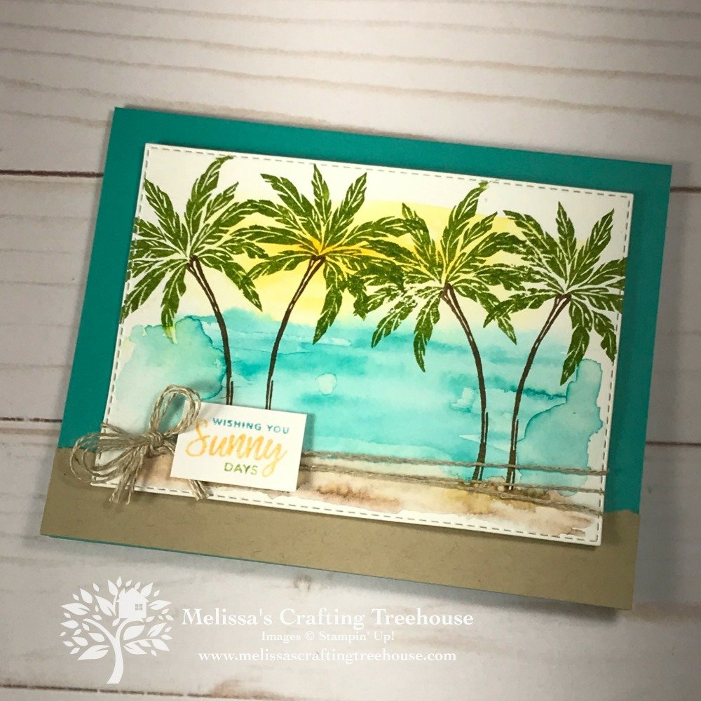 Today's project features the Beach Happy Stamp Set and the rectangle stitched framlits. Water coloring and the omitting markers technique are used.