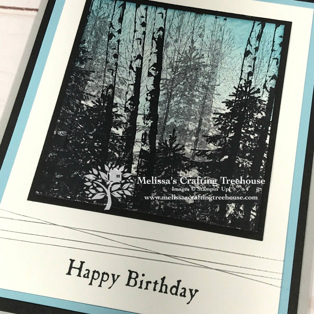 Check out my easy card making idea, featuring a birch forest scene with the Winter Woods Stamp Set! Change the sentiment for an all-purpose card design!