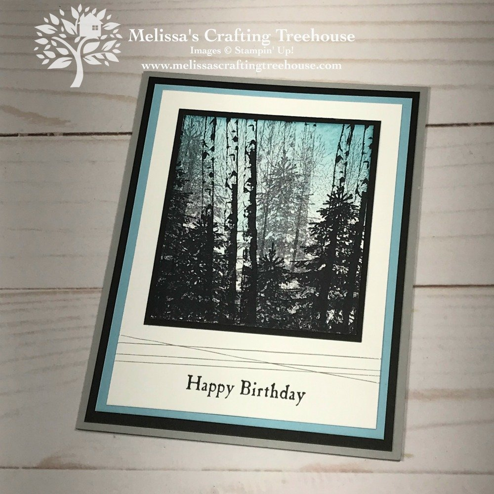 Check out my easy card making idea, featuring a birch forest scene with the Winter Woods Stamp Set! Change the sentiment for an all purpose card design!
