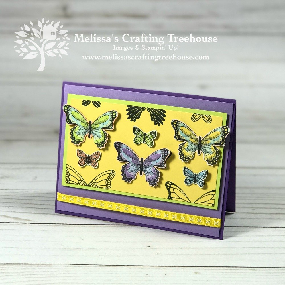 I'm excited to share this simple card making idea that uses the Butterfly Gala Bundle. It can be made using the stamp set OR the Botanical Butterfly DSP.