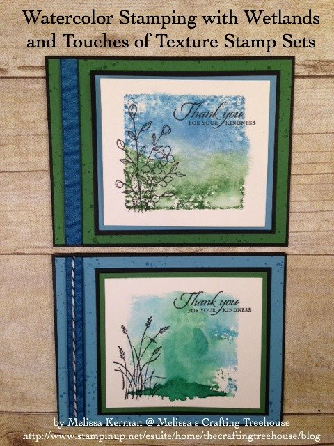 Combine watercolor techniques with a few of my latest favorite stamp sets, for tons of fun! Today's projects feature the Touches of Texture and Wetlands stamp sets.