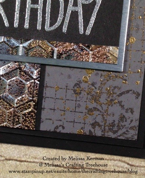 The products featured on today's Tarnished Foil project include the Hexagons Embossing Folder and the Big on Birthdays and Timeless Textures Stamp Sets.