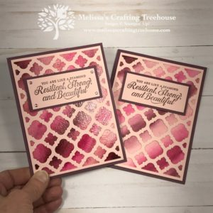 My project features a watercolor wash background with the Florentine Dies. This was a stamp club project and also a May/June 2019 Free Card Kit project.