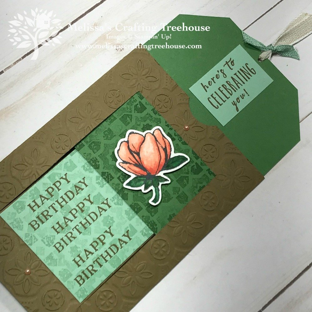 Check out my DIY slider card featuring the Magnolia Lane suite and the Verdant Garden and Perennial Birthday Stamp Sets. Unusual opening cards are so fun!