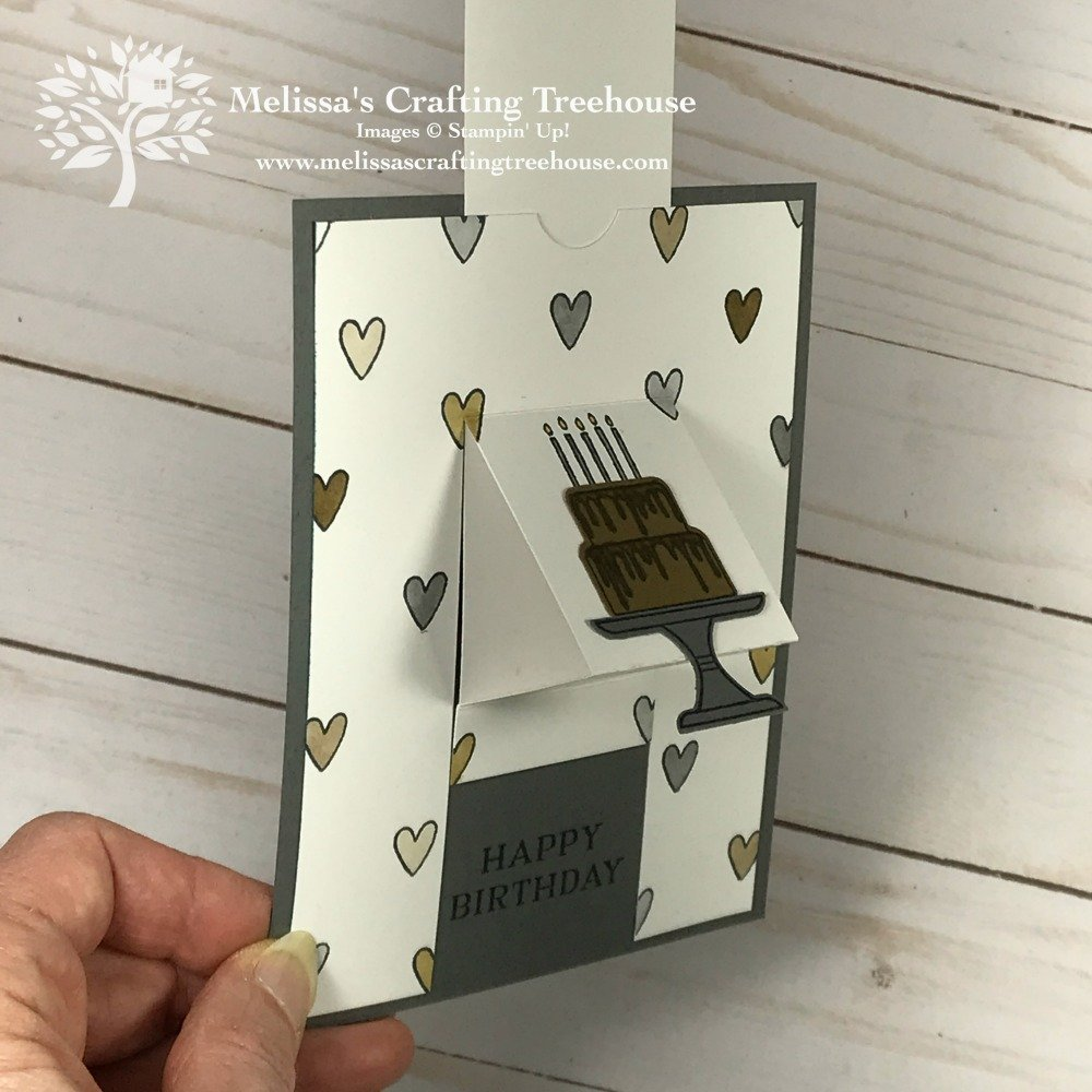 Today's post features an unusual opening card. It's called a Pull Tab Pop Up Card and is made with the Piece of Cake Stamp set and Cake Builder Punch.