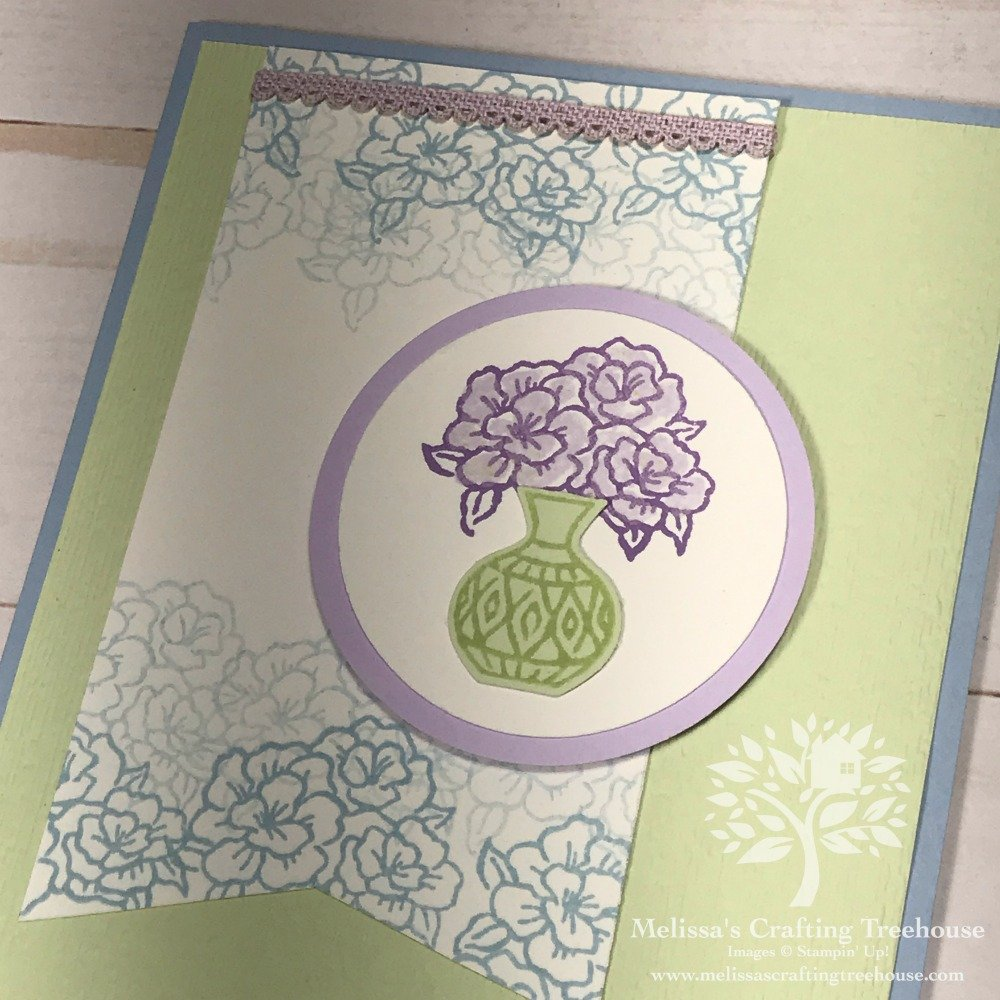 My July 2019 Color Challenge project features the Varied Vases Stamp Set and coordinating Vase Builder Punch. The colors used include two of the NEW 2019 - 2021 In Colors, Purple Posy and Seaside Spray. The third color is called Soft Sea Foam.