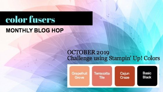 Today's projects were made for the Oct 2019 Color Challenge and Color Fusers Blog Hop.  This atypical design is made with the Beauty and Joy Stamp Set.