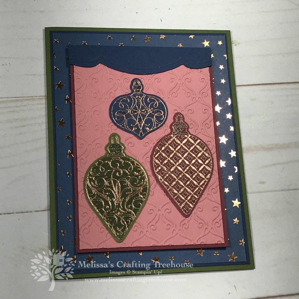 Today's projects were made for the September 2019 Color Challenge and Color Fusers Blog Hop. They feature the Christmas Gleaming Stamp Set from the 2019 Holiday Catalog.