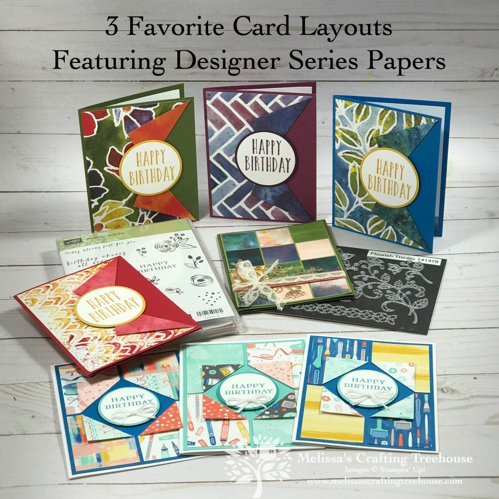 Check out 3 of my favorite card layouts that use designer series paper, 2 fun folds and 8 card variations. Three designer papers by Stampin' Up! shown here.