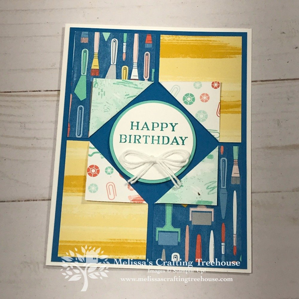 Check out 3 of my favorite card layouts that use designer series paper, 2 fun folds and 8 card variations. The Follow Your Art designer paper by Stampin' Up! shown here.