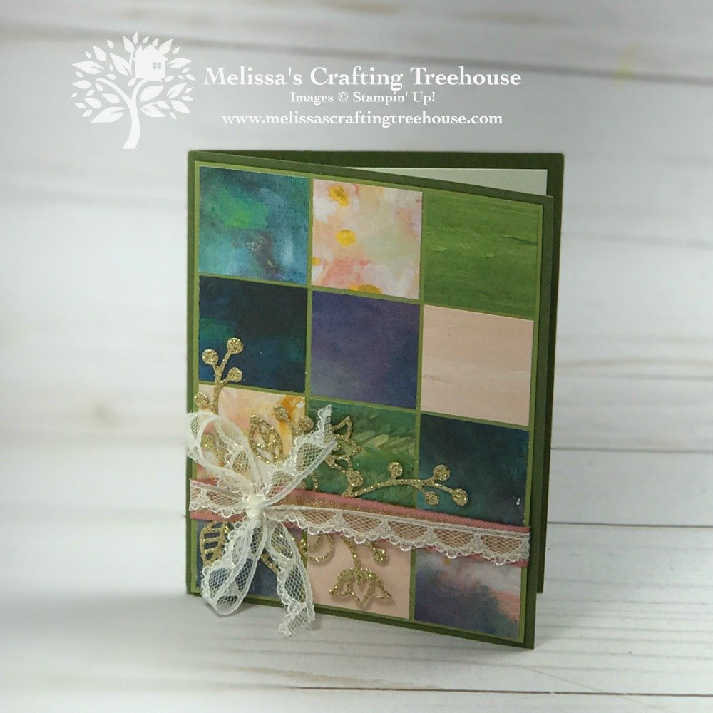 Check out 3 of my favorite card layouts that use designer series paper, 2 fun folds and 8 card variations. The Perennial Essence designer paper by Stampin' Up! shown here.
