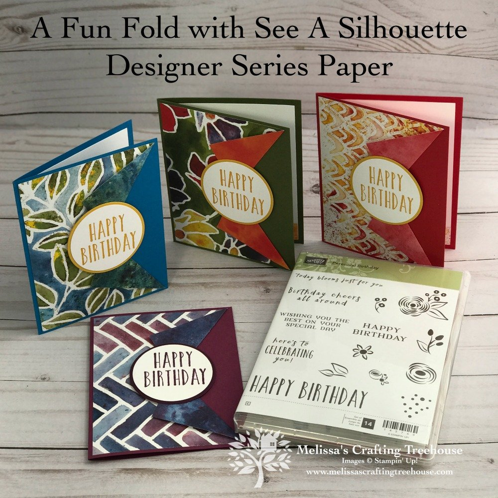 Check out 3 of my favorite card layouts that use designer series paper, 2 fun folds and 8 card variations. The See A Silhouette designer paper by Stampin' Up! shown here.