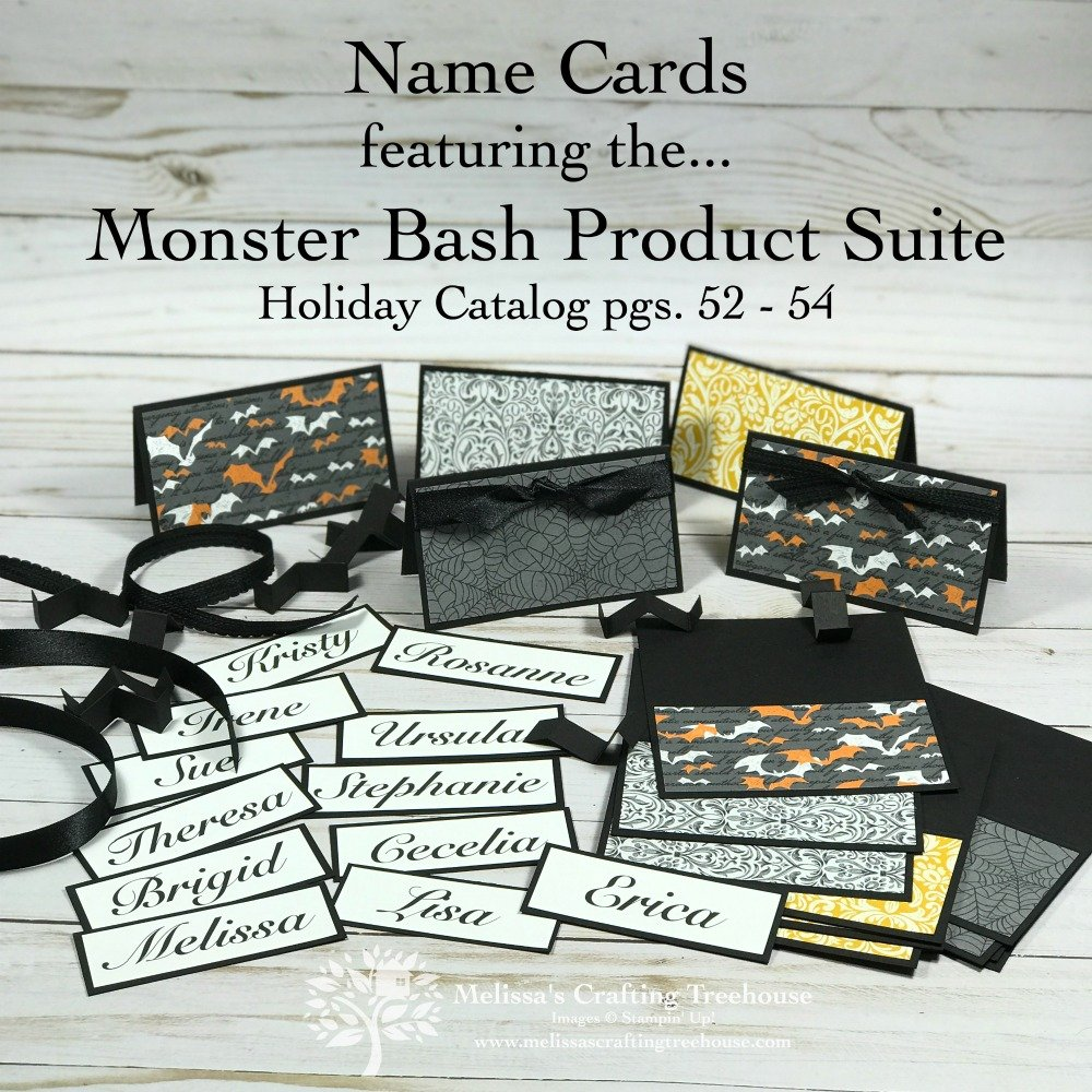 Today's post features three Homemade Christmas Card Ideas shared at my 4th Annual Creative Escape Event. Name cards and table gifts were made with the Monster Bash suite.