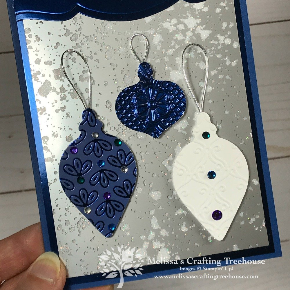 Todays post features an extra fancy Christmas card with Mercury Glass Acetate, Noble Peacock Foil, specialty designer paper and lots of sparkle and shine!