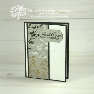 The Very Versailles Stamp Set is the featured product today. The beautiful foliage image is heat embossed in three colors, for a gorgeous, elegant result.