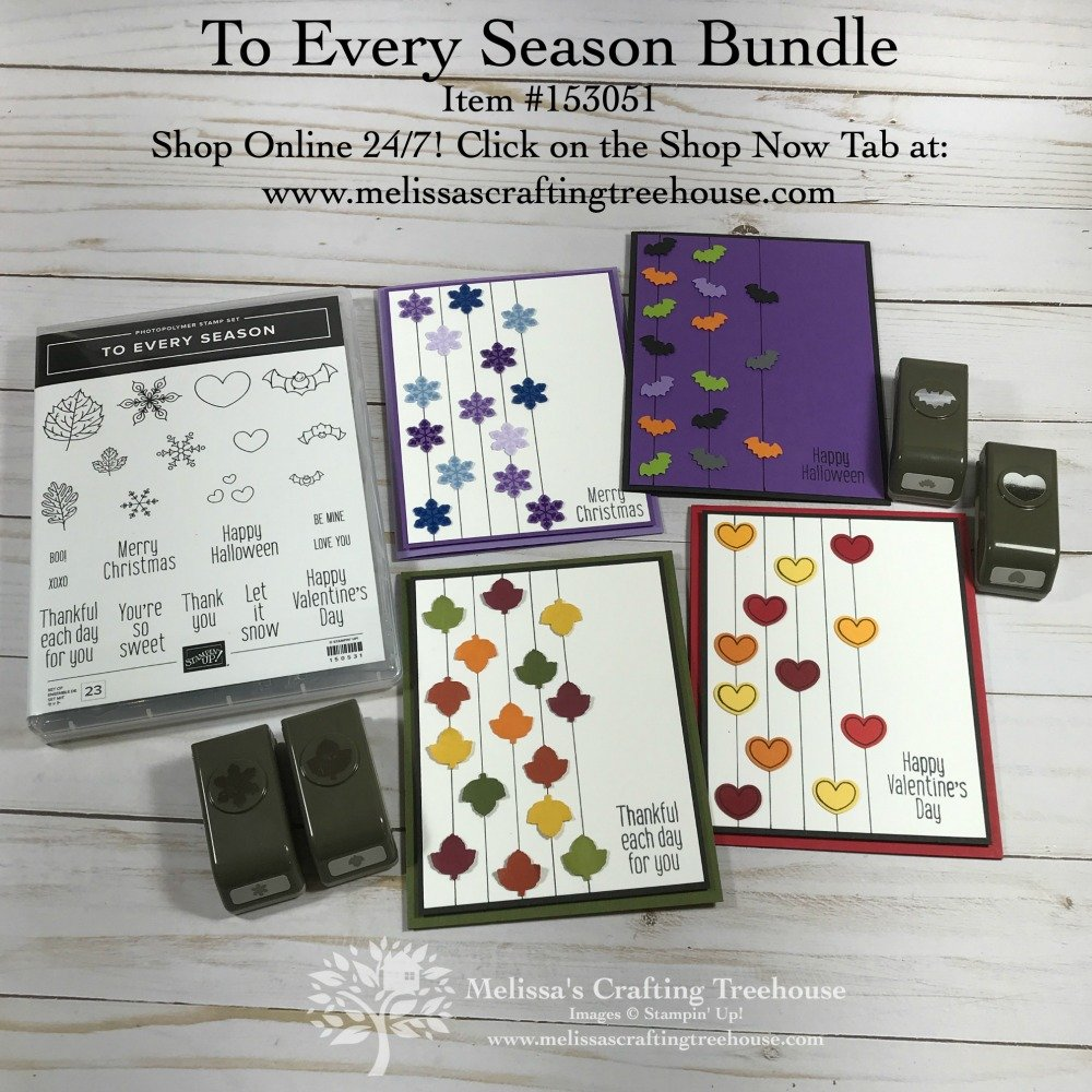 Today's post features 4 card variations made with the To Every Season Stamp Set and coordinating punches by Stampin' Up!. These are clean and simple cards!