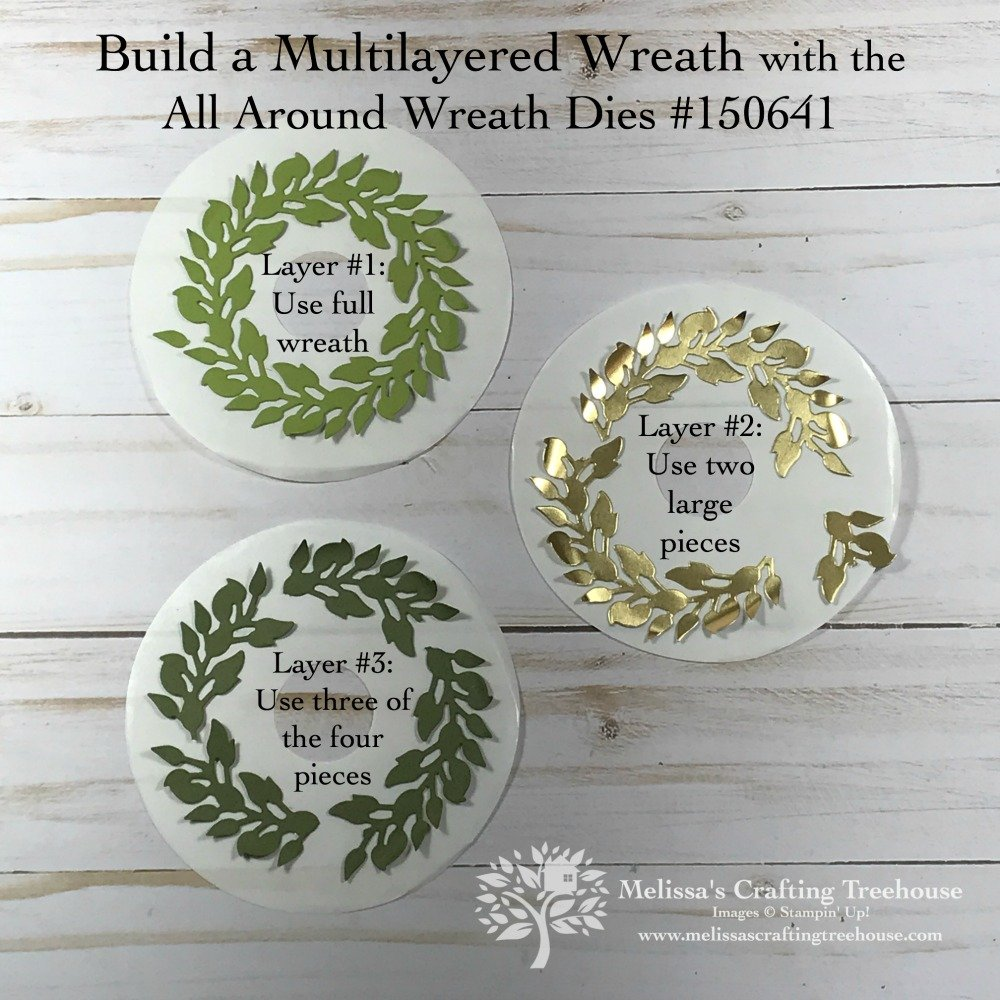 first graphic shows the scoring and cutting details, and the other one shows the basic building blocks for creating your multilayered wreath.