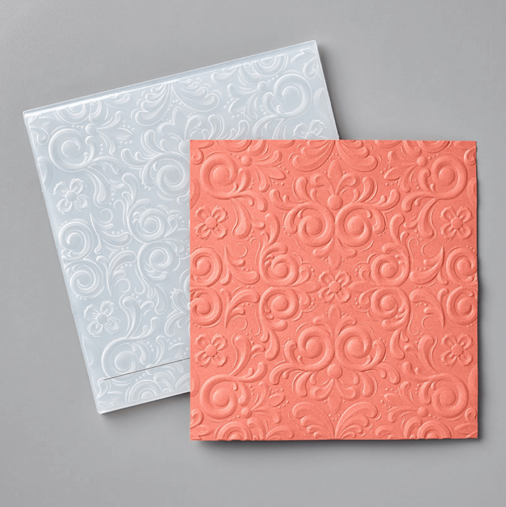 Today's elegant card features the Parisian Flourish Embossing Folder with both heat embossing and dry embossing! It's a simple technique but a WOW effect!