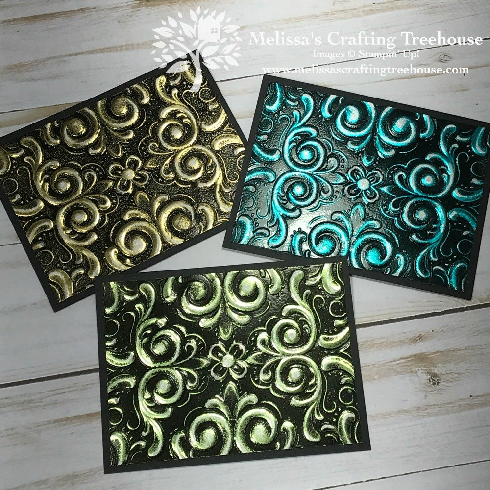 Check out these WOW Projects that are so simple to make! One uses what I call the Burnished Baroque Technique with the Parisian Flourish Embossing Folder!