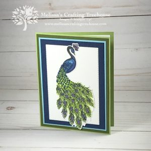 This simple card is made with the Royal Peacock Bundle. Blends Alcohol Markers & Wink of Stella are the perfect addition to this gorgeous peacock image.